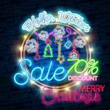 Christmas sale neon sign, bright signboard, light banner. New Year logo, emblem and label. Design template Christmas sale neon sign, bright signboard, light royalty free illustration