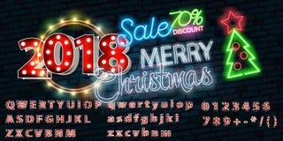 Christmas sale neon sign, bright signboard, light banner. New Year logo, emblem and label. Design template Christmas sale neon sign, bright signboard, light stock illustration