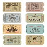 Design template of circus tickets stock illustration