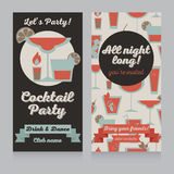 Design template for cocktail party in retro style Royalty Free Stock Images