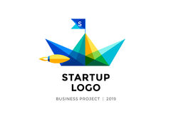 Design template of colorful paper boat with inscription Startup Logo Stock Photos