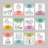 Design template of different cards for spa salon or cosmetic center. Spa and beauty salon card. Vector illustration Royalty Free Stock Image