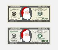 Design template 100 Dollars Banknote with Santa Claus. Bill one hundred dollars. Suitable for discount cards, leaflet, coupon, flyer, vouchers. Vector in flat Stock Illustration