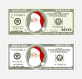 Design template 100 Dollars Banknote with Santa Claus. Bill one hundred dollars. Suitable for discount cards, leaflet, coupon, flyer, vouchers. Vector in flat Royalty Free Illustration