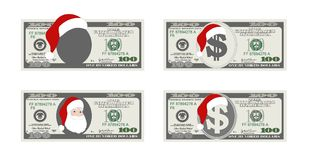 Design template 100 Dollars Banknote with Santa Claus. One hundred dollar bill for Christmas sales. Suitable for discount cards, leaflet, coupon, flyer Stock Illustration
