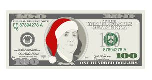 Design template 50 Dollars Banknote with Santa Claus and red hat. stock illustration