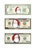 Christmas set of dollars in various denominations. Design template dollars bill with Santa Claus. Christmas set of dollars in various denominations. Suitable Stock Photography