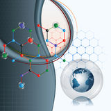Design template with Earth globe inside of glass sphere on colorful hexagonal chemical structure Royalty Free Stock Photos