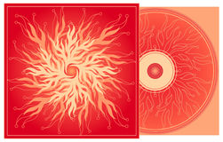 CD cover in red. Design template with floral smooth forms stock illustration