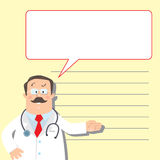 Design template with funny doctor Stock Photo