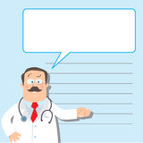 Design template with funny doctor Stock Photography