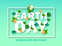 Design template Happy Earth Day with abstract leaves, flowers and clouds. Vector illustration. Colorful environmental elements of. A thin square frame on a blue royalty free illustration