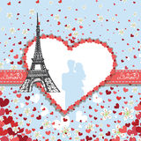 Design Template.Hearts ,flowers,Eiffel tower,Label. Vintage Valentine ,wedding Design Template with flying hearts ,flowers,Eiffel tower.Label in the heart shape vector illustration