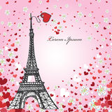 Design Template.Hearts ,flowers,Eiffel tower. Vintage Valentine ,wedding Design Template with flying hearts ,flowers,Eiffel tower.Room for text.Romantic royalty free illustration
