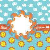 Design template Hello summer with cartoon sun and  Stock Images
