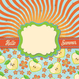 Design template Hello summer with sun imitation an Royalty Free Stock Images