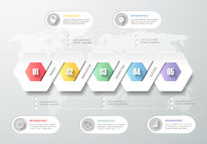 Design template infographic 5 steps. Royalty Free Stock Photo