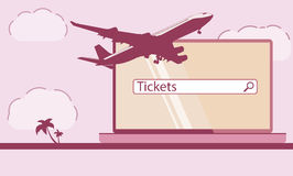 Design template with jet plane. Vector image. Stock Photo