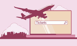 Design template with jet plane. Vector image. Royalty Free Stock Images