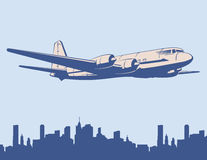 Design template with jet plane. Vector image. Stock Images