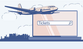 Design template with jet plane. Vector image. Stock Photos