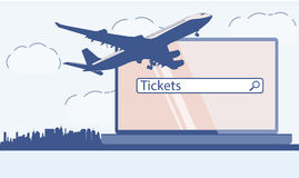 Design template with jet plane. Vector image. Stock Image