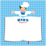 Design template for Kids Menu with funny cook boy Stock Photo
