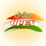 Design template for Now Open sign on colorful, brush stroke Royalty Free Stock Photos