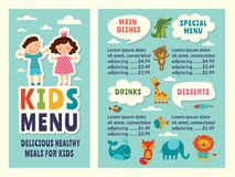 Free Design Template Of Kids Menu With Colored Funny Pictures And Place For Your Text Royalty Free Stock Photography - 113548097