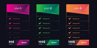 Design Template for Pricing Table for Websites and Applications and print. Modern Style UI. Vector Illustration. Vector Design Template for Pricing Table in Stock Photo