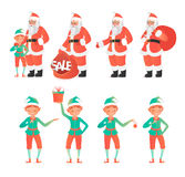 Design template with Santa Claus and elves. Vector illustration. Cartoon style stock illustration