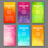 Design template set of web backgrounds. Brochure flyer. Mobile technology concept backdrop. Mobile app design template Stock Photos