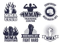 Design template of sport martial labels for mma fighters. Boxing club, training to fight battle. Vector illustration Stock Images