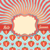 Design template with sun imitation and strawberry Stock Photo
