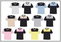 Design Template T shirt V neck combination Bright Color, Vector. Sketch Graphics design template t shirt V Neck jumper  combination Bright Color, vector Stock Photo