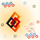Design template with three dimensions composition with colorful squares and electronic circuits Stock Photography