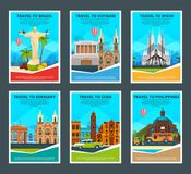 Design template of various travel cards with illustrations of famous landmarks royalty free illustration