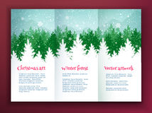 Design template with winter spruce forest Stock Photo