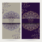 Design template for yoga studio with mandala ornament background. Stock Photo