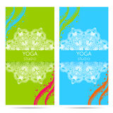 Design template for yoga studio with mandala ornament background. Stock Image