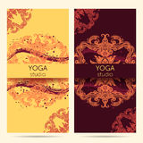 Design template for yoga studio with mandala ornament background. Royalty Free Stock Image
