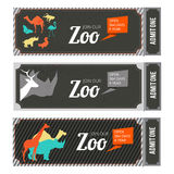 Design template of zoo tickets with different wild animals on it and place for your text. Zoo tickets template, vector illustration Stock Images