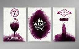 Design templates background wine stains. Suitable for promotions, brochures, tasting events, wine presentation or wine list. Vector Stock Photography