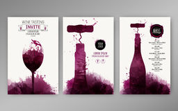 Design templates background wine stains. Suitable for promotions, brochures, tasting events, wine presentation or wine list. Vector Royalty Free Stock Images