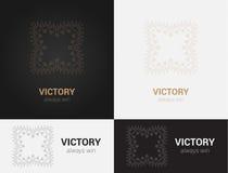 Design templates in black, grey and golden colors. Creative mandala logo, icon, emblem, symbol. Stock Image