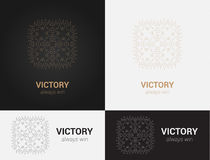 Design templates in black, grey and golden colors. Creative mandala logo, icon, emblem, symbol. Royalty Free Stock Photography