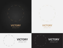 Design templates in black, grey and golden colors. Creative mandala logo, icon, emblem, symbol. Stock Photography