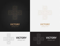 Design templates in black, grey and golden colors. Creative mandala logo, icon, emblem, symbol. Stock Images