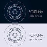 Design templates in blue and grey colors. Creative mandala logo, icon, emblem, symbol. Royalty Free Stock Image