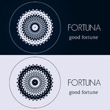 Design templates in blue and grey colors. Creative mandala logo, icon, emblem, symbol. Stock Image